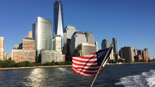 One World Trade Center from the Hudson River Ferry.